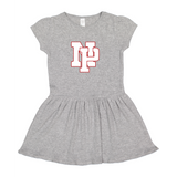 Baby/Toddler Dress - White NP Logo, Red outline