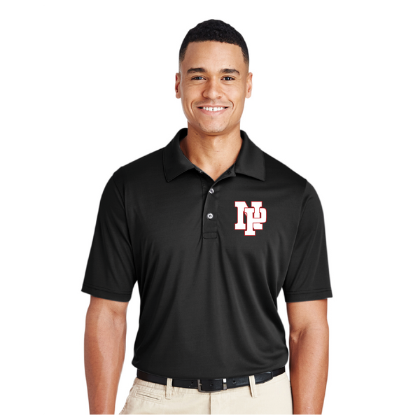 Mens Performance Polo - White NP Logo, Red Outline