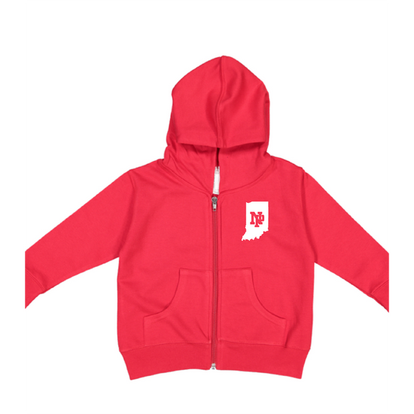 Toddler Fleece Hooded Zip-up - Indiana Outlined