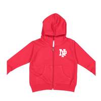 Toddler Fleece Hooded Zip-up - White NP Logo
