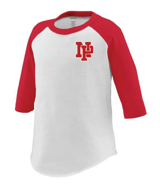 Toddler 3/4 Sleeve Baseball Tee - Red NP Logo