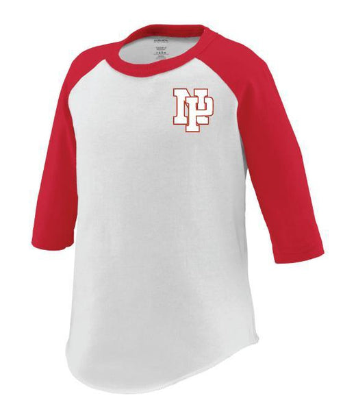 Toddler 3/4 Sleeve Baseball Tee - White NP Logo, Red Outline