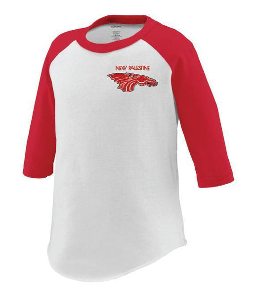 Toddler 3/4 Sleeve Baseball Tee - New Palestine w/Red Dragon Head Logo