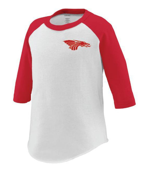 Toddler 3/4 Sleeve Baseball Tee - Red Dragon Head Logo
