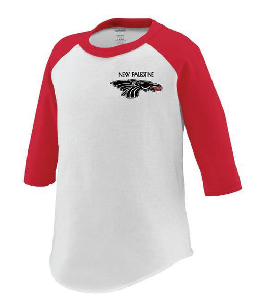 Toddler 3/4 Sleeve Baseball Tee - New Palestine w/Black Dragon Head Logo