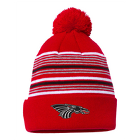 Pom Pom Winter Hat - Black/White Dragon Head