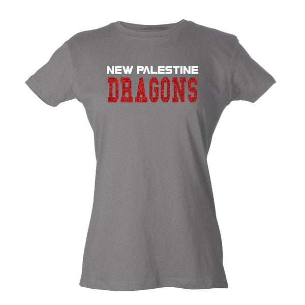 Womens Slim Fit Jersey Tee - New Palestine Dragons1 (Glitter)
