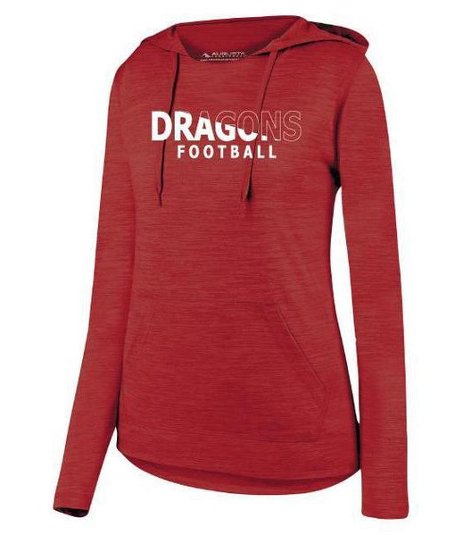Womens Lightweight Hoodie - White Dragons Football Slashed