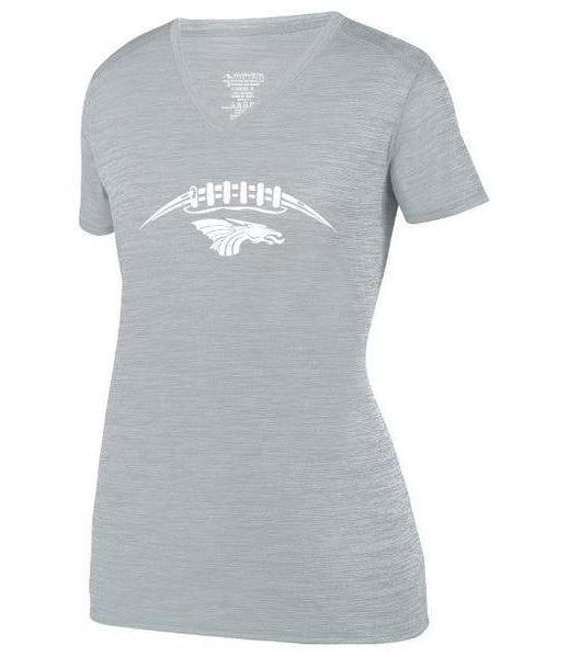 Womens Heathered V-Neck T-Shirt - Dragons Football Laces