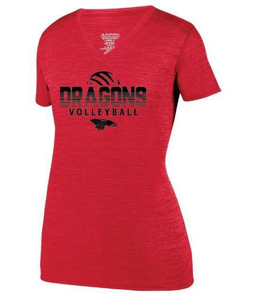 Womens Heathered V-Neck T-Shirt - Dragons Volleyball