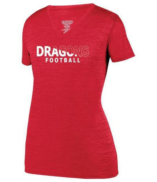 Womens Heathered V-Neck T-Shirt - Dragons Football Slashed