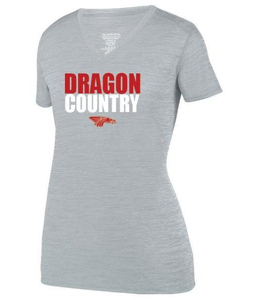 Womens Heathered V-Neck T-Shirt - Dragon Country