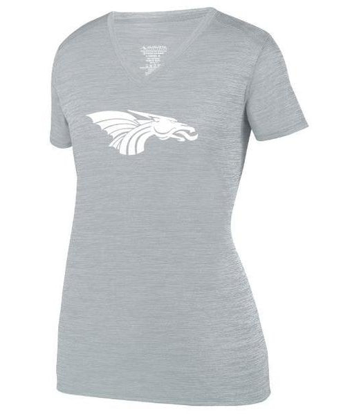 Womens Heathered V-Neck T-Shirt - White Dragon Head Logo