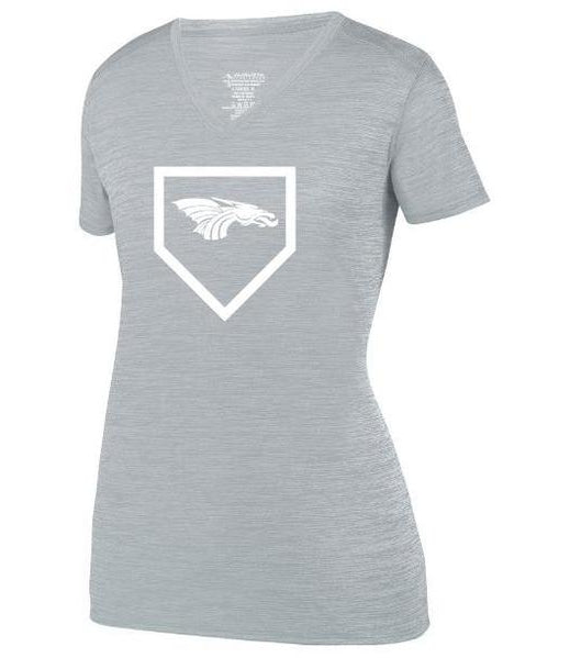 Womens Heathered V-Neck T-Shirt - Dragons Baseball Home Plate