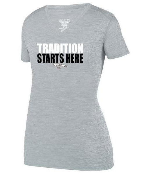 Womens Heathered V-Neck T-Shirt - Tradition Starts Here