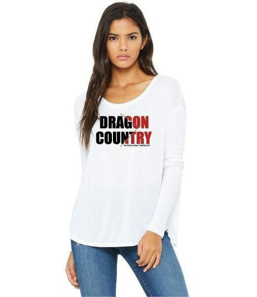 Womens Flowy Long Sleeve T-Shirt - Dragon Country Arrowed