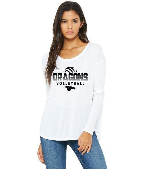 Womens Flowy Long Sleeve T-Shirt - Dragons Volleyball
