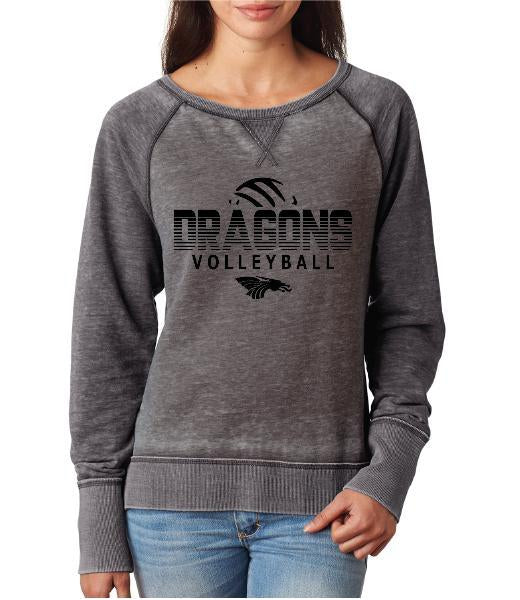 Womens Zen Contrast Crew Top - Dragons Volleyball
