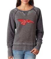 Womens Zen Contrast Crew Top - Red Dragon Head Logo