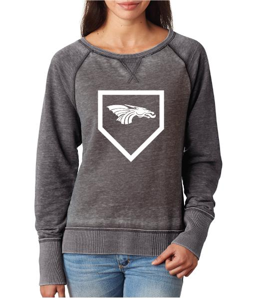 Womens Zen Contrast Crew Top -  Dragons Baseball Home Plate