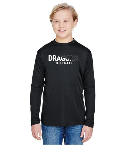 Youth Long Sleeve T-Shirt - Dragons Football Slashed White