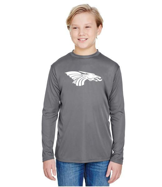 Youth Long Sleeve T-Shirt - White Dragon Head Logo