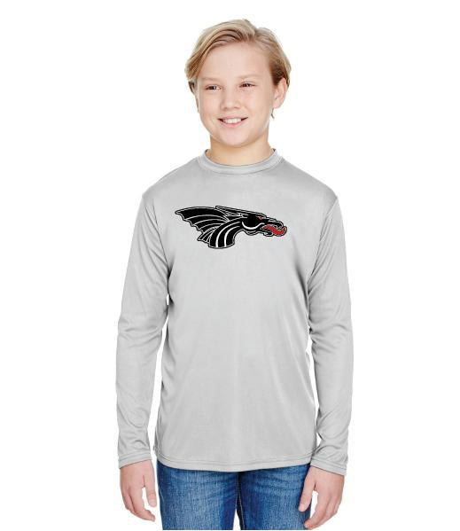 Youth Long Sleeve T-Shirt - Black Dragon Head Logo