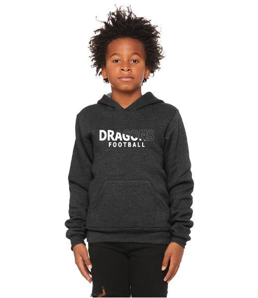Youth Unisex Sponge Fleece Hoodie - Dragons Football Slashed White