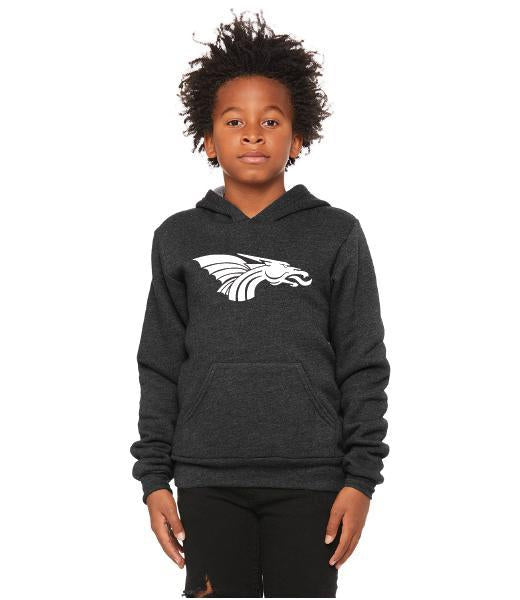Youth Unisex Sponge Fleece Hoodie - White Dragon Head Logo