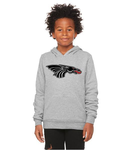 Youth Unisex Sponge Fleece Hoodie - Black Dragon Head Logo