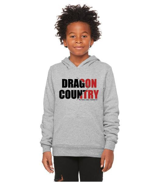 Youth Unisex Sponge Fleece Hoodie - Dragon Country Slashed