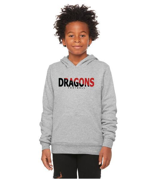 Youth Unisex Sponge Fleece Hoodie - Dragons Football Slashed