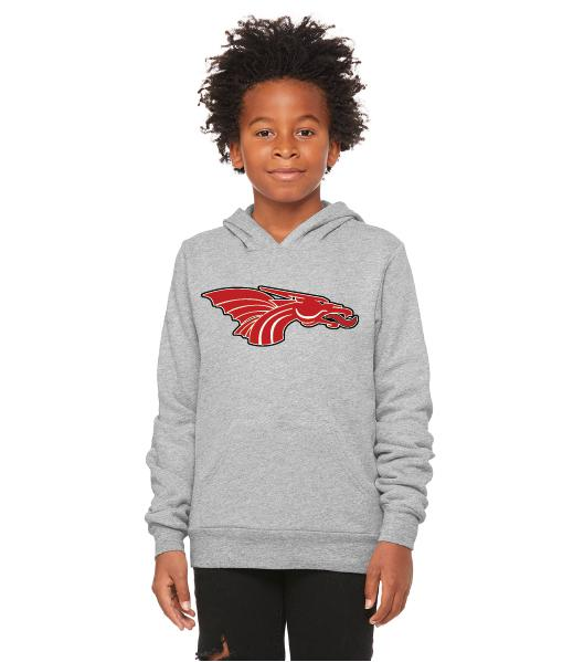 Youth Unisex Sponge Fleece Hoodie - Red Dragon Head Logo