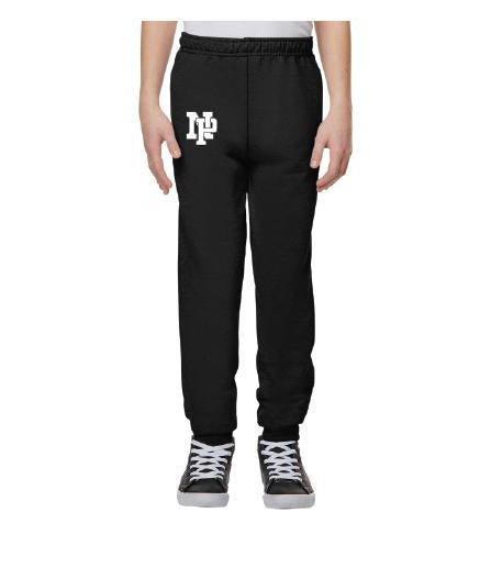 Youth Unisex Joggers - White NP Logo, Black Outline