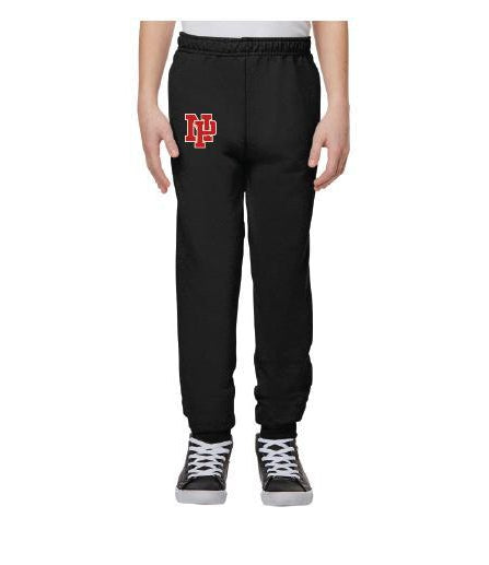 Youth Unisex Joggers - Red NP Logo, White Outline