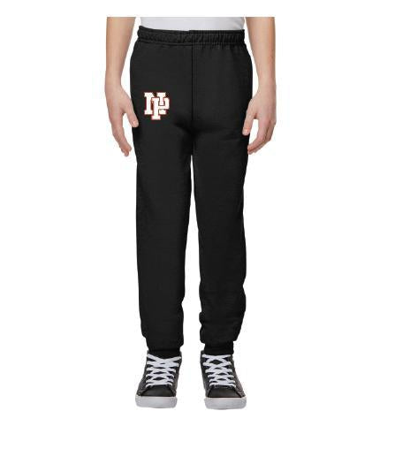 Youth Unisex Joggers - White NP Logo, Red Outline