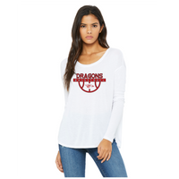 Womens Flowy Long Sleeve T-Shirt - Dragons Basketball