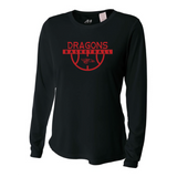 Womens Long Sleeve T-Shirt - Dragons Basketball