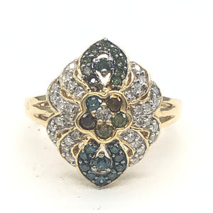 14kt YG Multi Colored Diamond Ring