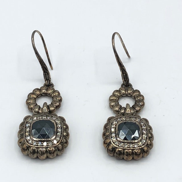 John Hardy Hematite and Diamond Earrings