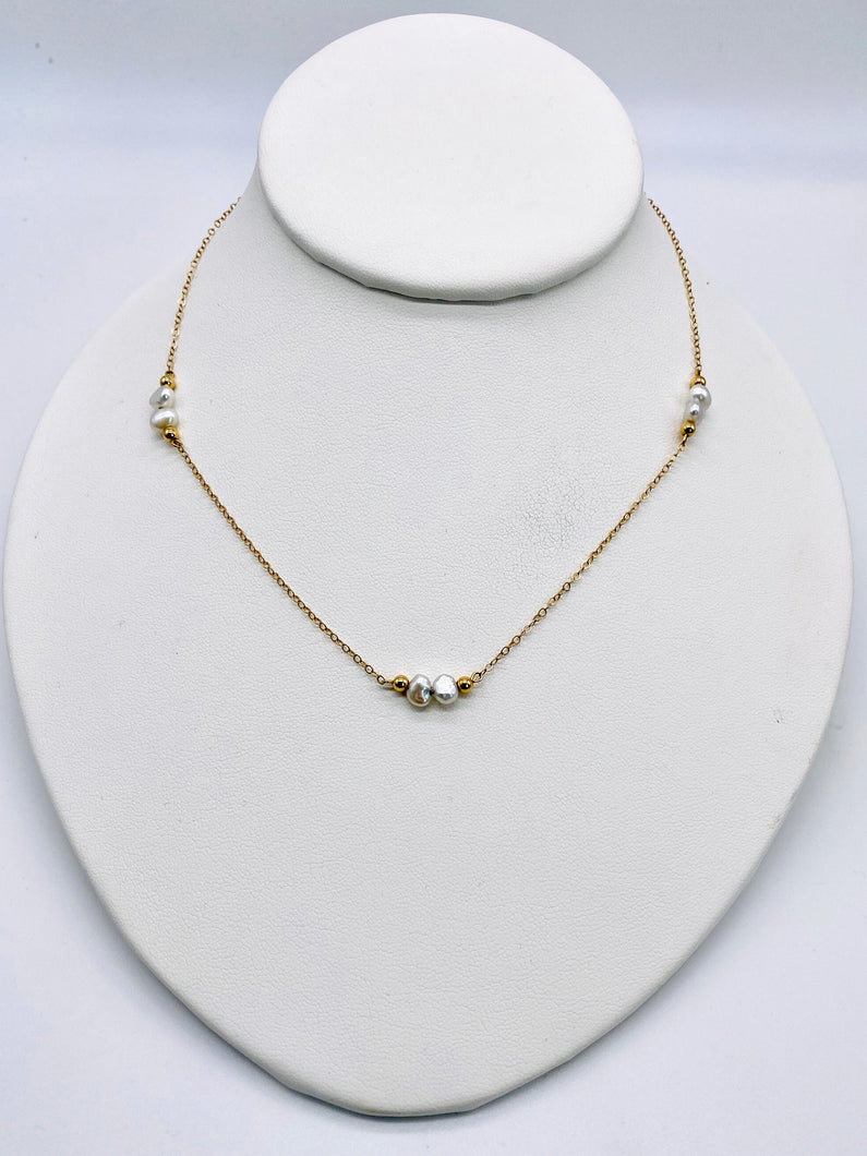 14kt Pearl Station Necklace