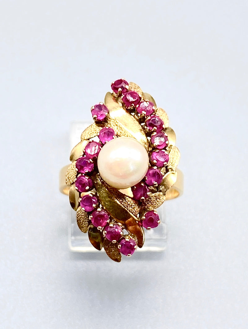 20K Gold Pearl and Ruby Ring