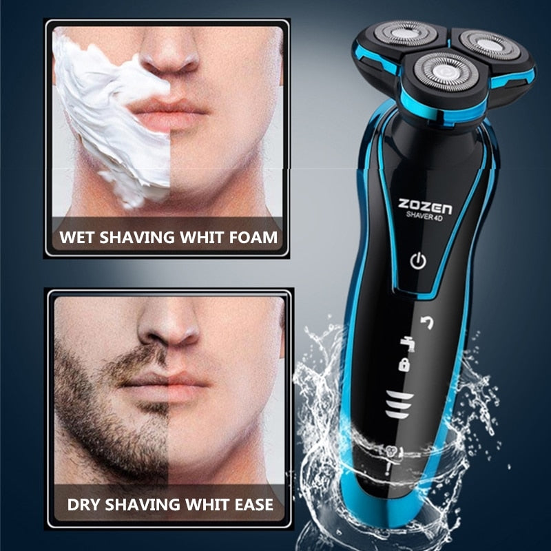 New Electric Shaver Rechargeable Electric Beard Trimmer Shaving Machine for Men Beard Razor Wet-Dry Dual Use Washable - Market Libre