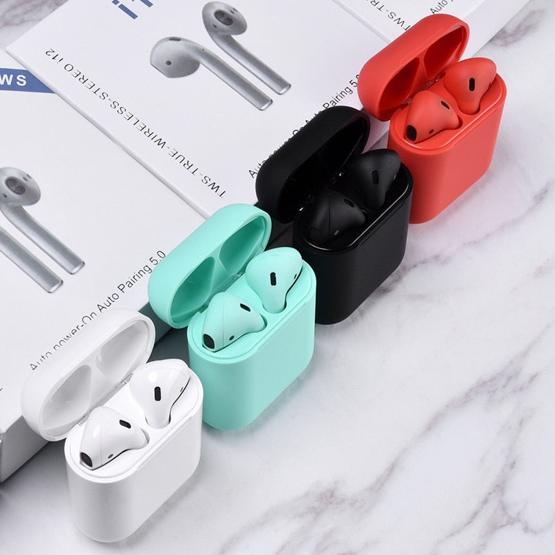 Original i12 TWS Wireless Bluetooth 5.0 Earphone Sports Sweatproof Headphone Touch Portable Earbuds - Market Libre