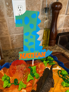 Dinosaur 1 Cake Topper with Name, 1st Birthday Dino Cake Topper, Personalized Dinosaur Cake Topper