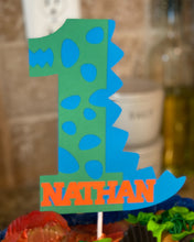 Load image into Gallery viewer, Dinosaur 1 Cake Topper with Name, 1st Birthday Dino Cake Topper, Personalized Dinosaur Cake Topper