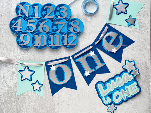 Twinkle Twinkle Little Star First Birthday Party Pack, Little Star High Chair Banner, Photo Clips, Cake Topper and Garland