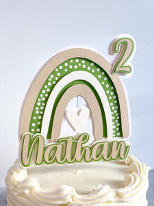 Boho Rainbow Cake Topper Personalized with Name and Age, Boho Birthday Party Decorations, Rainbow Party Decor