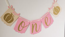 Load image into Gallery viewer, Light Pink and Gold Pumpkin High Chair Banner