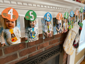 Dinosaur Print Monthly Photo Banner Clips, Dino Milestone Picture Banner, First Birthday Pic Display